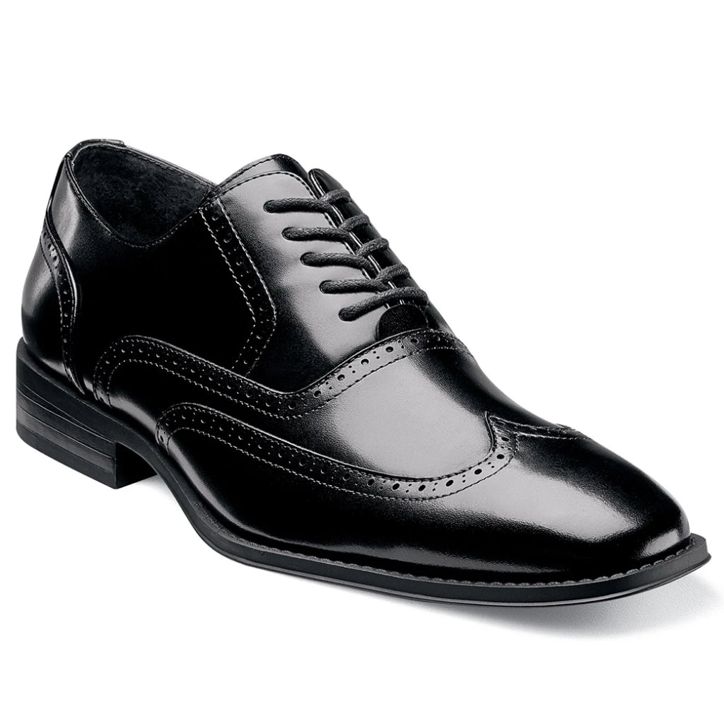 Stacy Adams Wardell Wingtip Oxford - Black Shoes - Dapperfam.com