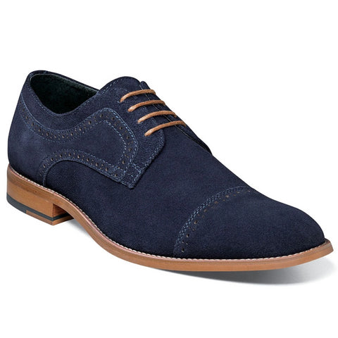 Stacy Adams Dobson Suede Cap Toe - Navy Shoes - Dapperfam.com