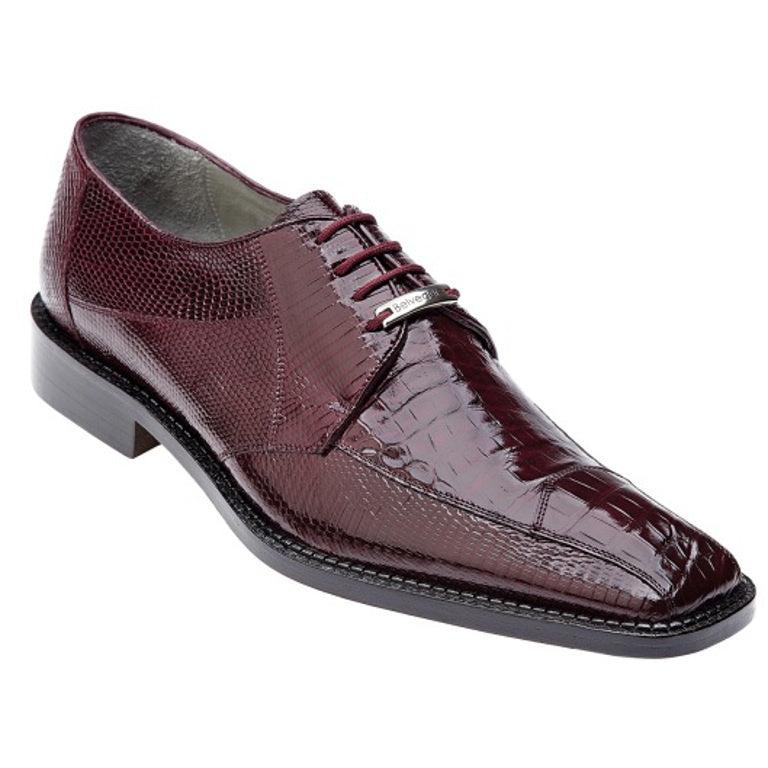 Belvedere Alcamo Exotic Lizard & Alligator Lace Up oxford - Dark Bordeux Shoes - Dapperfam.com