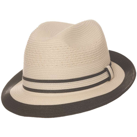 Country Gentleman Noah Straw Fedora - White/Black Hat - Dapperfam.com