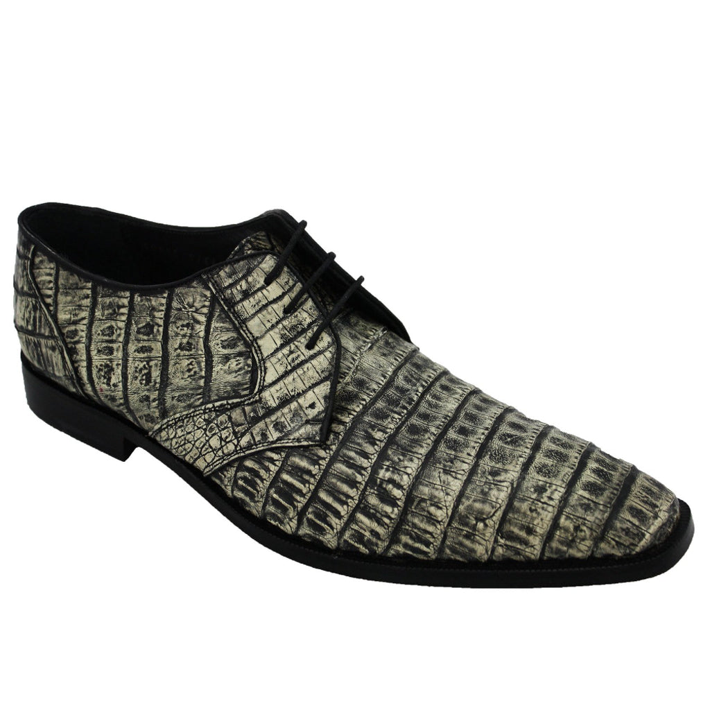 Los Altos Caiman Lizard - Rustic Black Shoes - Dapperfam.com