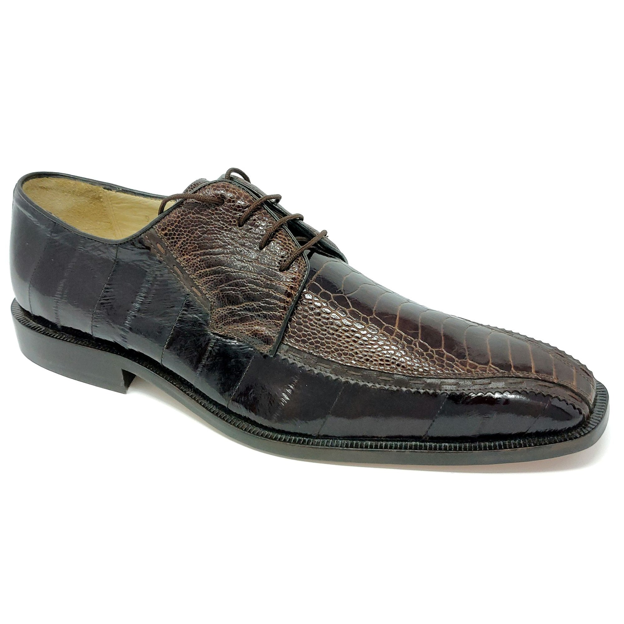 Belvedere Cava Ostrich Brown Shoes - Dapperfam.com