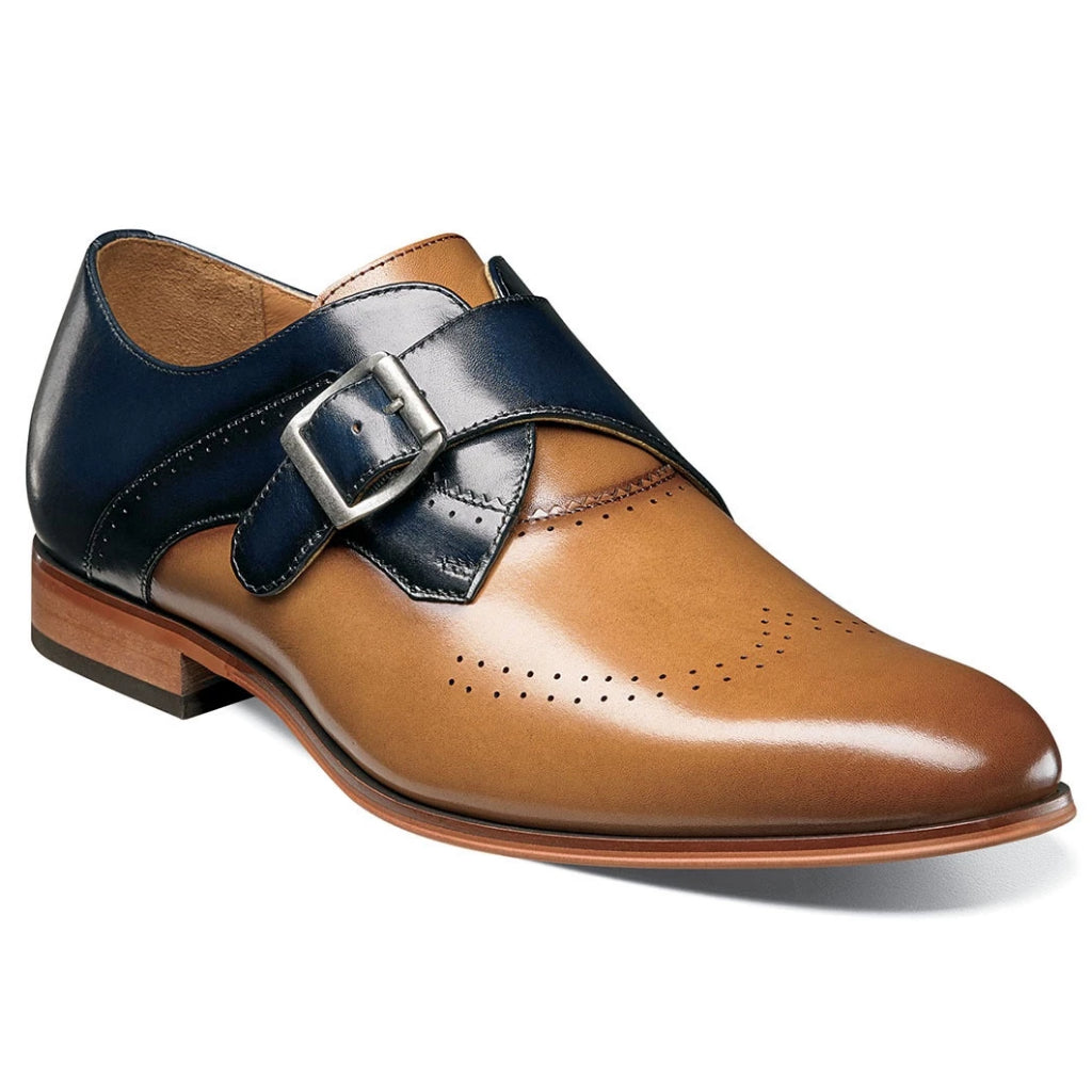 Stacy Adams Saxton Perfed Wingtip Monk Strap - Tan Multi Shoes - Dapperfam.com