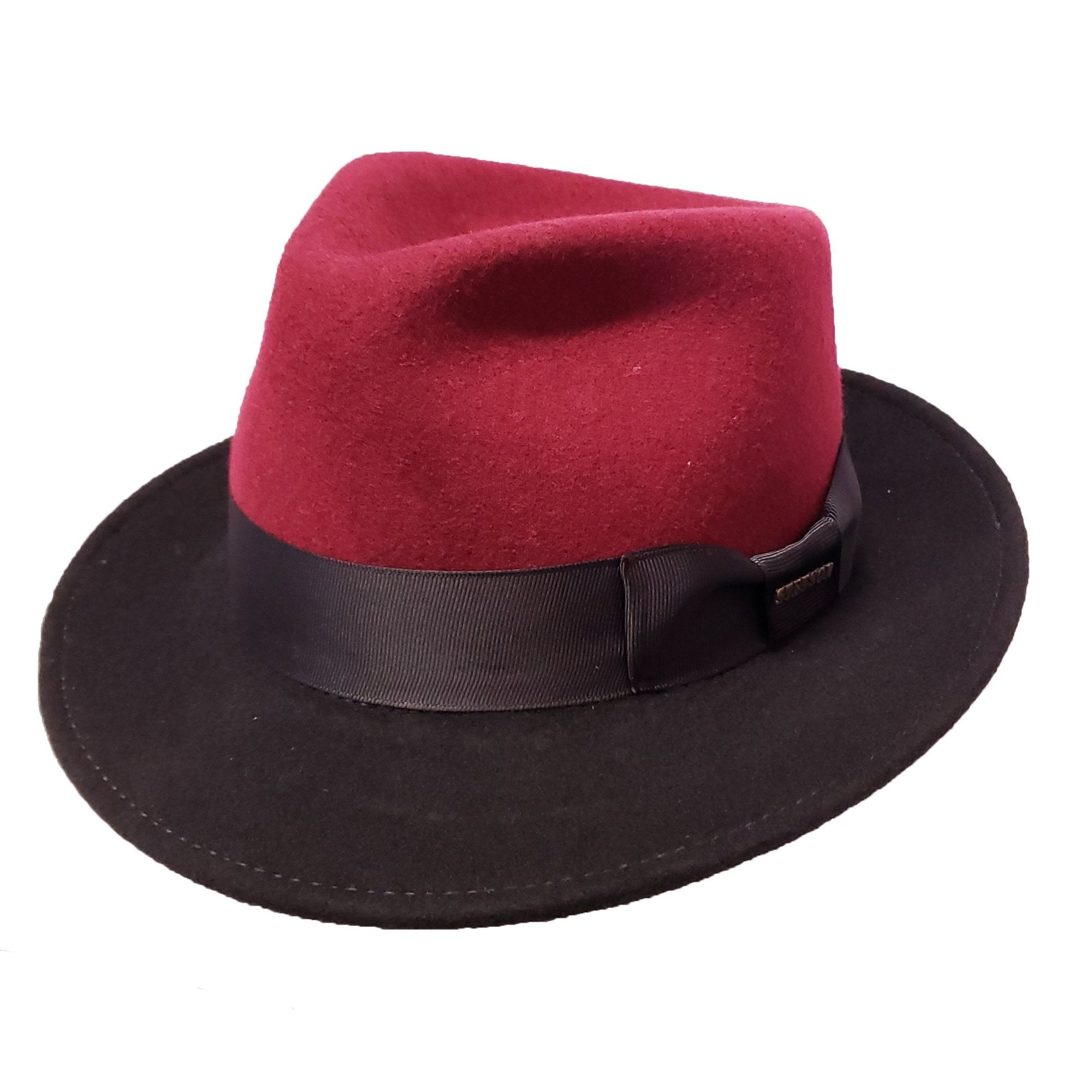 Stetson Duetoni Two-Tone Fedora - Burgundy / Black Hat - Dapperfam.com