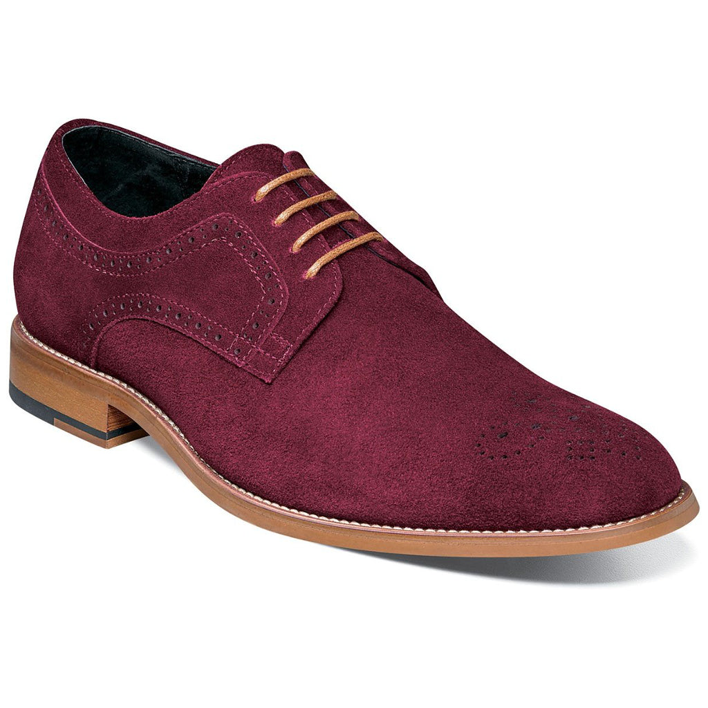 Stacy Adams Dunstan Suede Plain Toe Oxford - Burgundy Shoes - Dapperfam.com