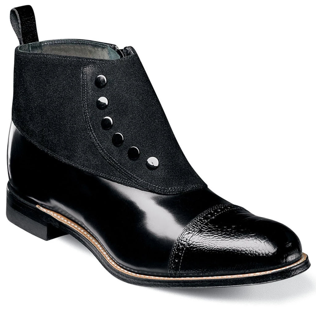 Stacy Adams Madison Suede Cap Toe Spat Boot - Black Shoes - Dapperfam.com