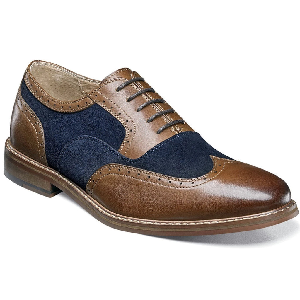 Stacy Adams Ansley Wingtip Suede Oxford - Brown and Navy Shoes - Dapperfam.com