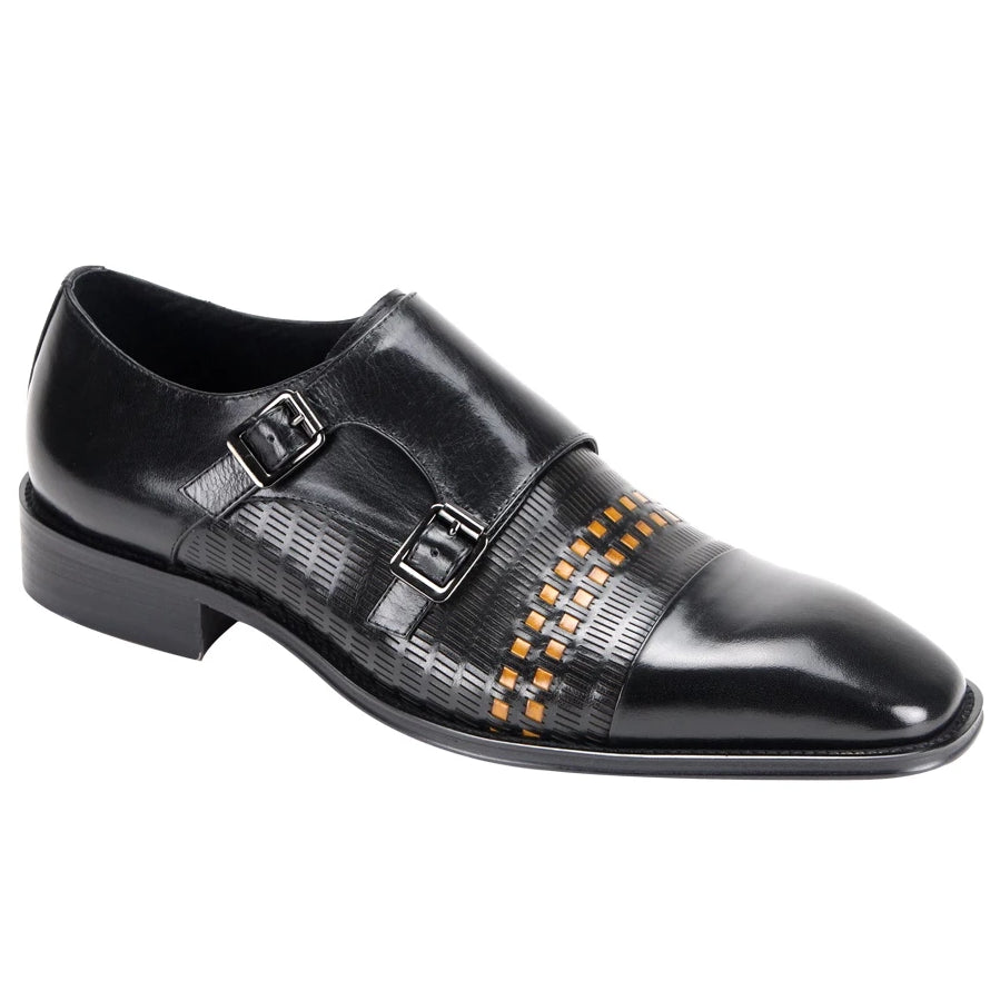 Steven Land Double Monk Strap Cap Toe - Black / Scotch - Dapperfam.com