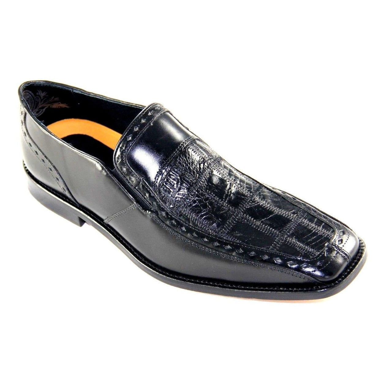 Stacy Adams Galena Genuine Crocodile Square Toe - Black Shoes - Dapperfam.com