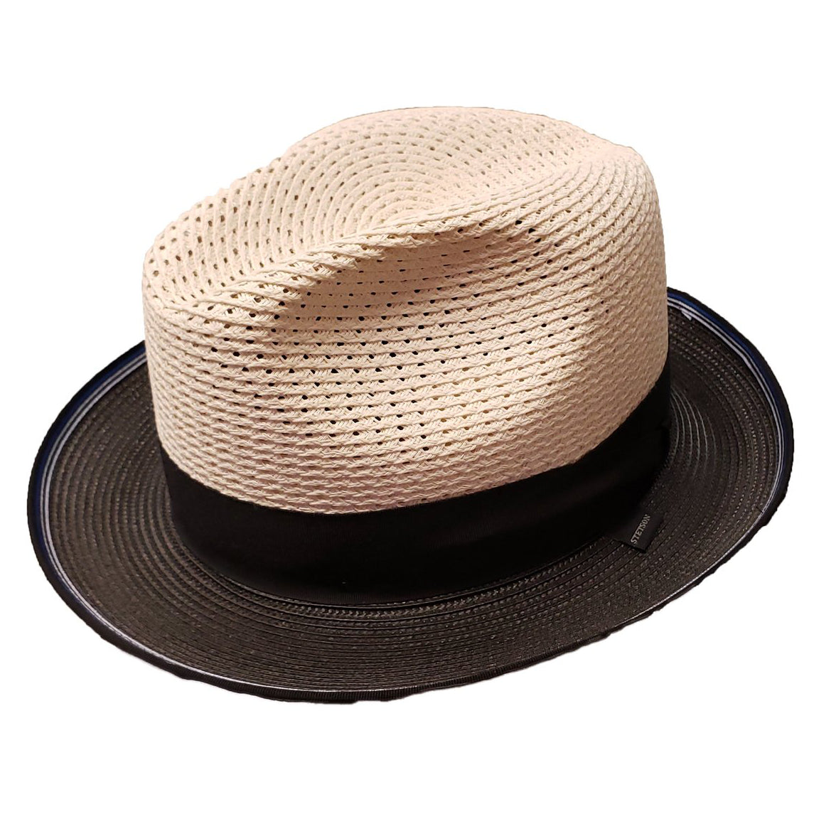 Stetson Gaston Vented Fedora - Beige / Black Hat - Dapperfam.com