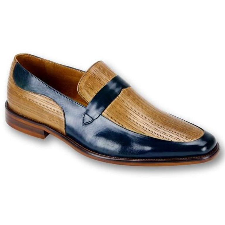 Steven Land Slip-On Loafer - Blue / Latte dress shoe - Dapperfam.com