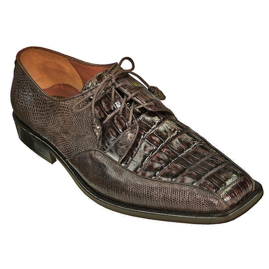 Los Altos `The Dress Shoe` Crocodile Belly and Teju Lizard Lace Up Oxford, Floor Model  - Brown / Cafe - Dapperfam.com