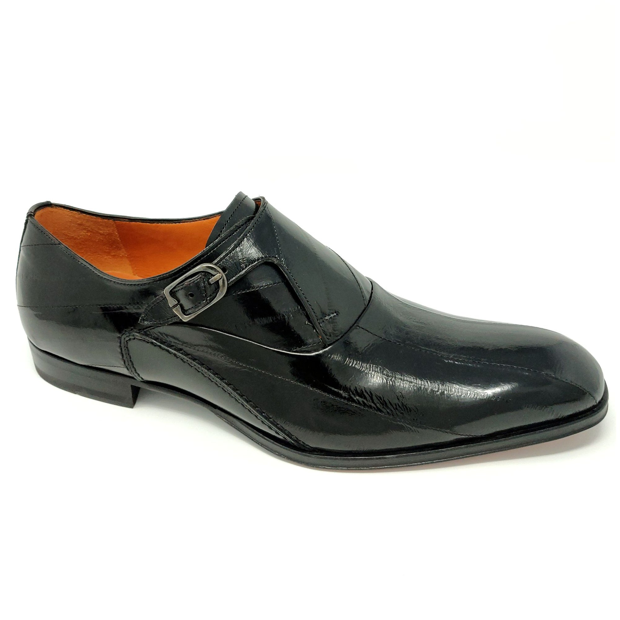 Mezlan Orleans Eel Skin Monk Strap - Black Shoes - Dapperfam.com