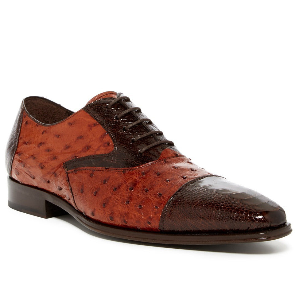 Mezlan Genuine Rugger Ostrich Paw and Quill Lace Up Cap Toe Oxford - Brown / Brandy - Dapperfam.com