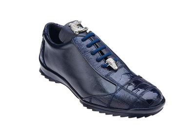 Paulo - Navy Genuine Ostrich & Soft Calf Sneakers
