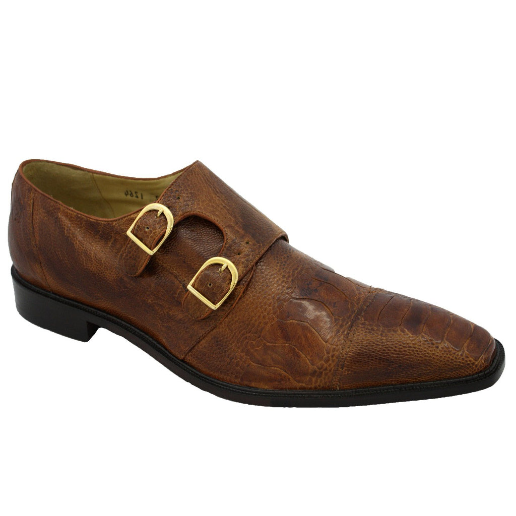 Belvedere Sato Ostrich Monk Strap Shoe - Antique Brown Shoes - Dapperfam.com
