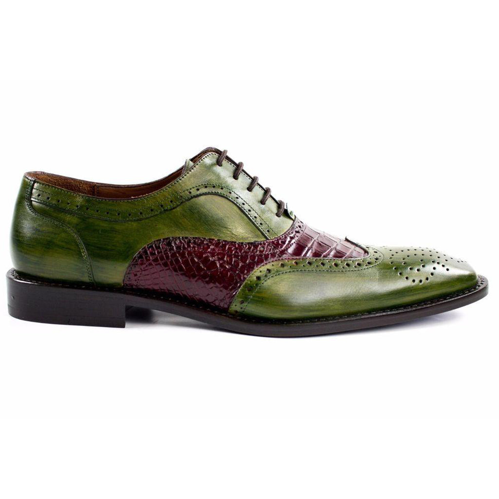 Belvedere Sesto Alligator Calf Oxford - Emerald / Wine - Dapperfam.com