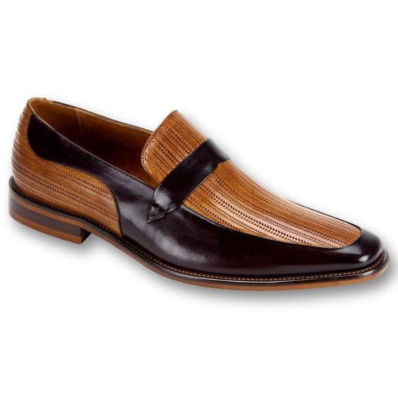 Steven Land Slip-On Loafer - Burgundy / Tan Shoes - Dapperfam.com