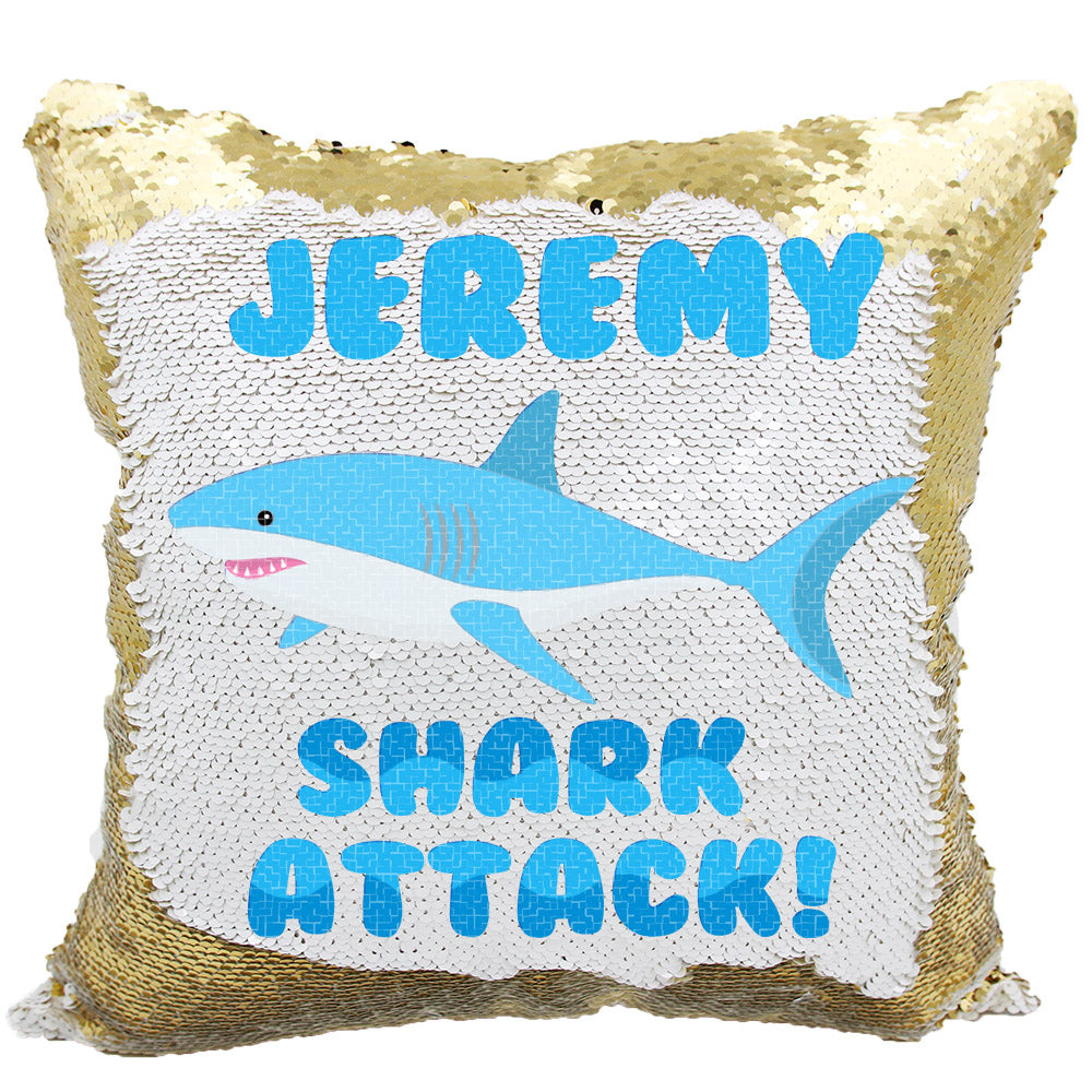11b67cf70fa Handmade Personalized Shark Attack Reversible Sequin Pillow Case