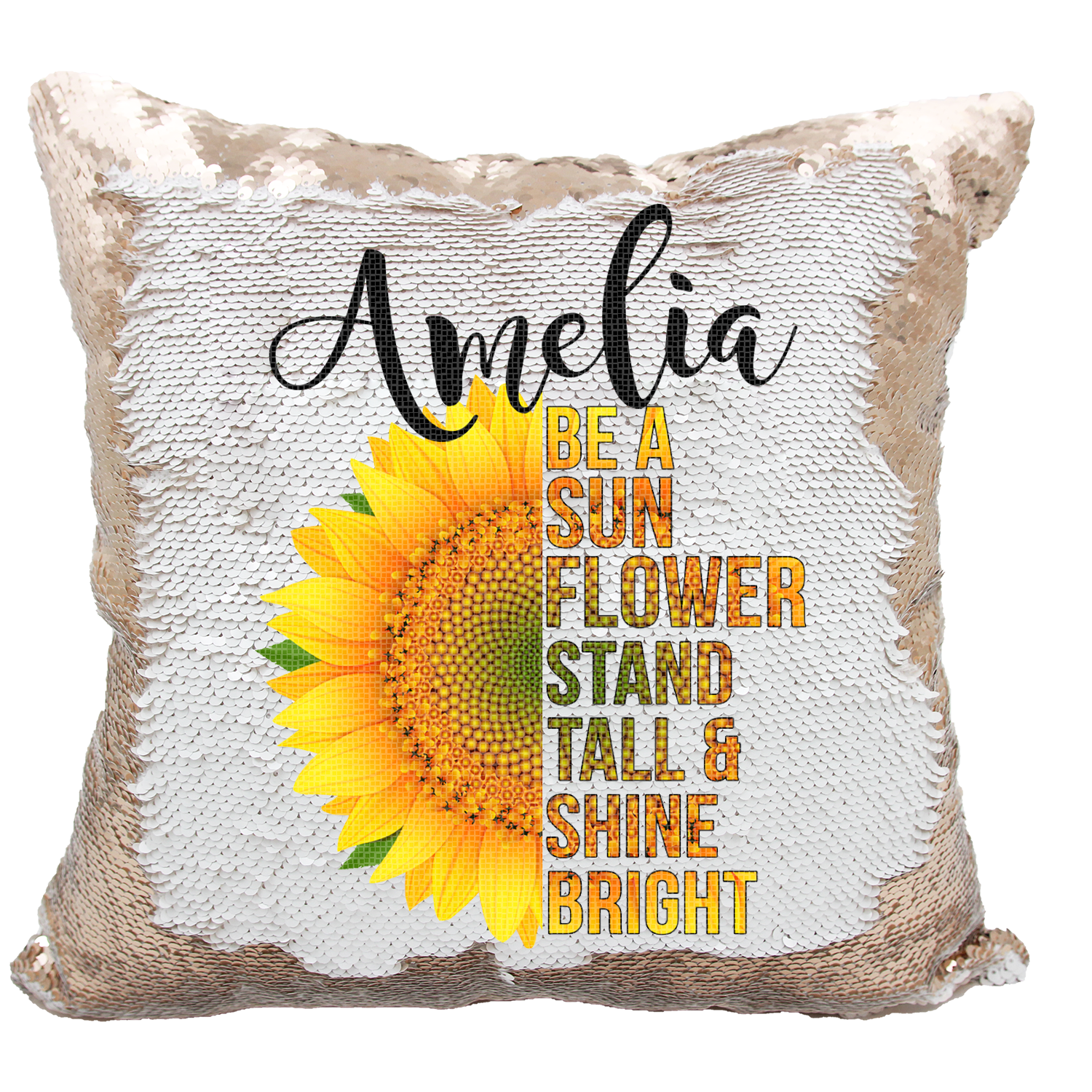 Handmade Personalized Be A Sunflower Quote Reversible Sequin Pillow Ca Verafide Shop