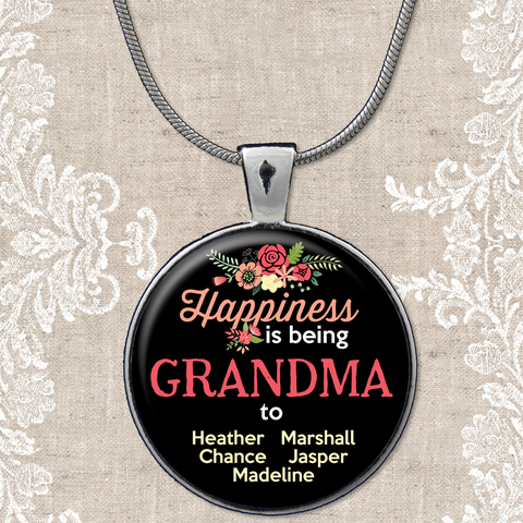 Personalized happiness is being grandma to pendant necklace personalized being a grandma to pendant necklace aloadofball Image collections