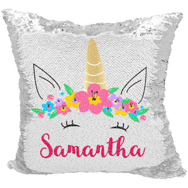 Personalized Magical Mermaid Sequin Unicorn Pillow Verafide Shop