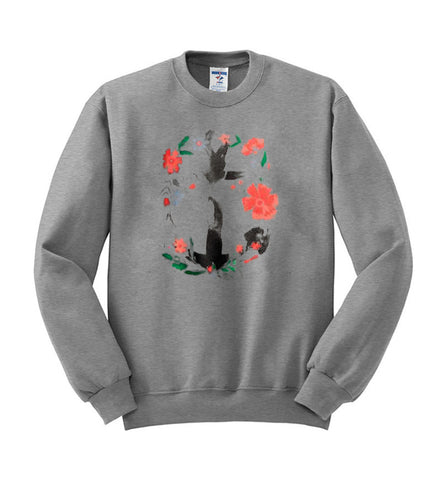 rose paint flower paint sweatshirt