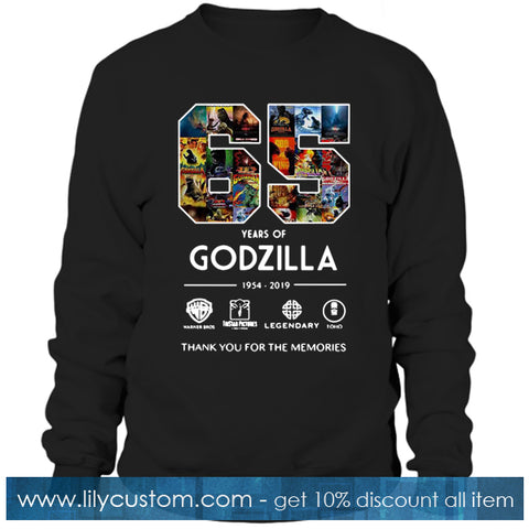65 years of Godzilla 1954 2019 thank you for the memories Sweatshirt