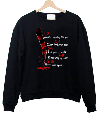 A Nightmare On Elm Street Hand 1 2 Freddy's Coming For You Sweatshirt SU