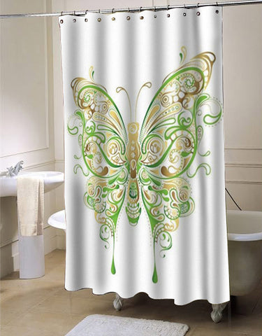 Abstract Floral Butterfly shower curtain customized design for home decor