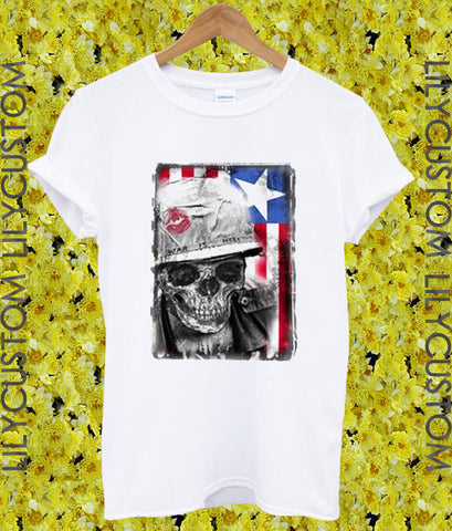 American Skull War Graphic Tshirt