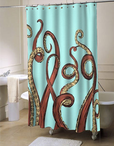 Aqua Octopus shower curtain customized design for home decor