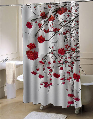 Heavy Snow Bends Berried Branches shower curtain customized design for home decor