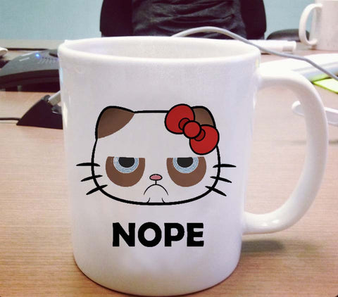 Hello kitty grumpy cat nope Ceramic Mug
