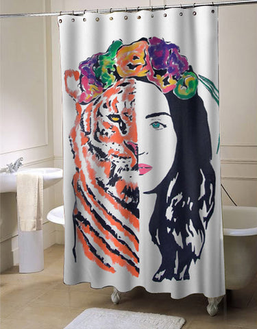 Katy Perry - ROAR Eye Of The Tiger shower curtain customized design for home decor
