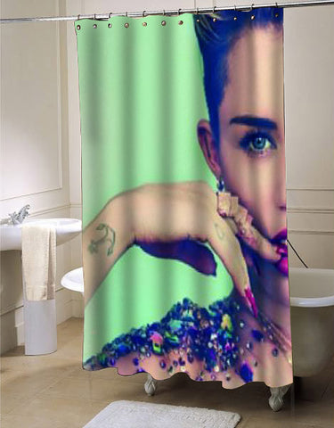 Miley Cyrus shower curtain customized design for home decor