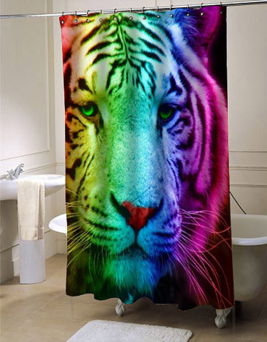 Rainbow Tiger shower curtain customized design for home decor