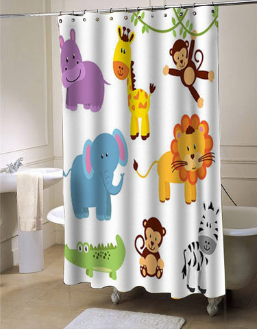 Zoo Animals Clipart Clip Art shower curtain customized design for home decor