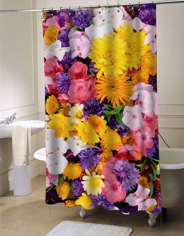 flower colorfull shower curtain customized design for home decor