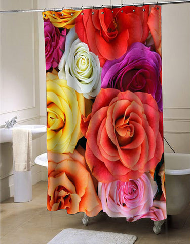 flower rose shower curtain customized design for home decor