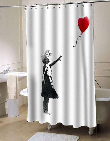 girl banksy shower curtain customized design for home decor