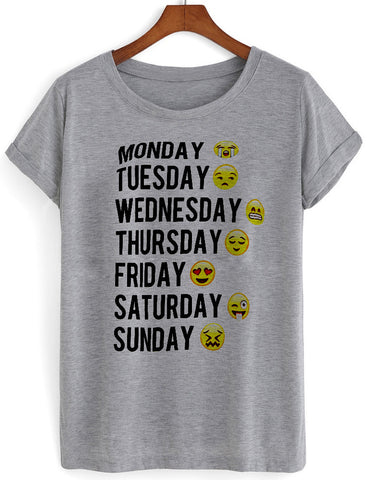 monday tuesday tshirt grey
