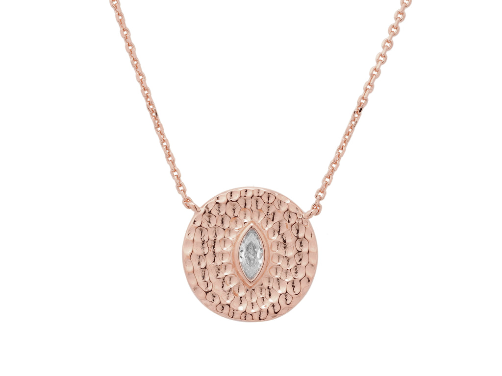 Athena necklace with white sapphire, sterling silver, rose gold plated
