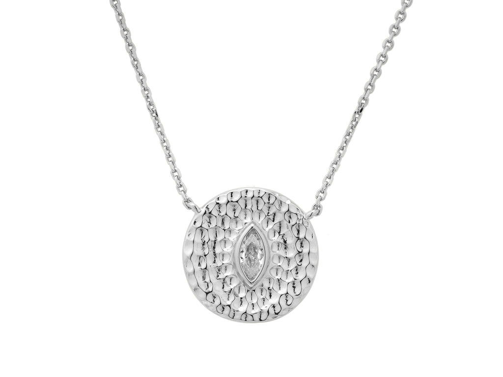 Athena necklace with white sapphire, sterling silver, rhodium plated