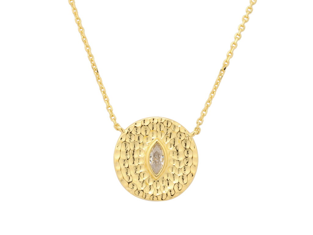 Athena necklace with white sapphire, sterling silver, yellow gold plated