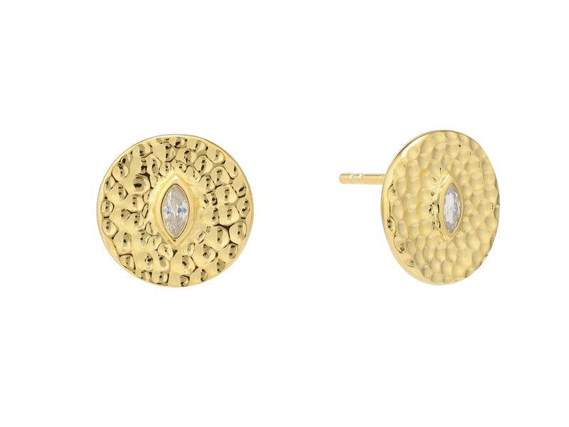 Athena earrings set with white sapphire, sterling silver, yellow gold plated