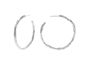 Iris hoops. sterling silver, rhodium plated