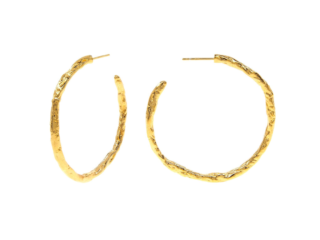 Iris hoops. sterling silver, yellow gold plated