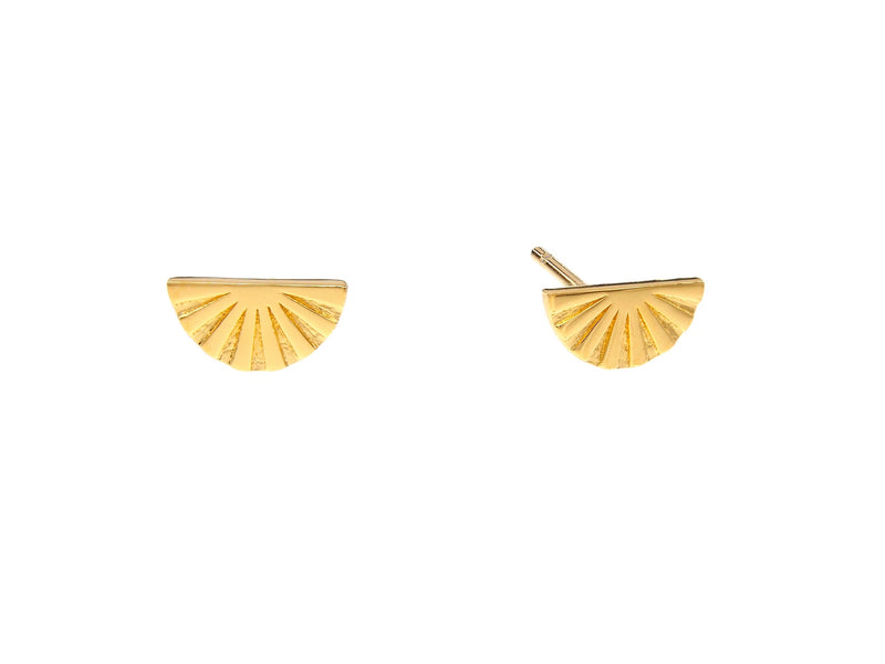 Joan of Ark mini studs, sterling silver, yellow gold plated
