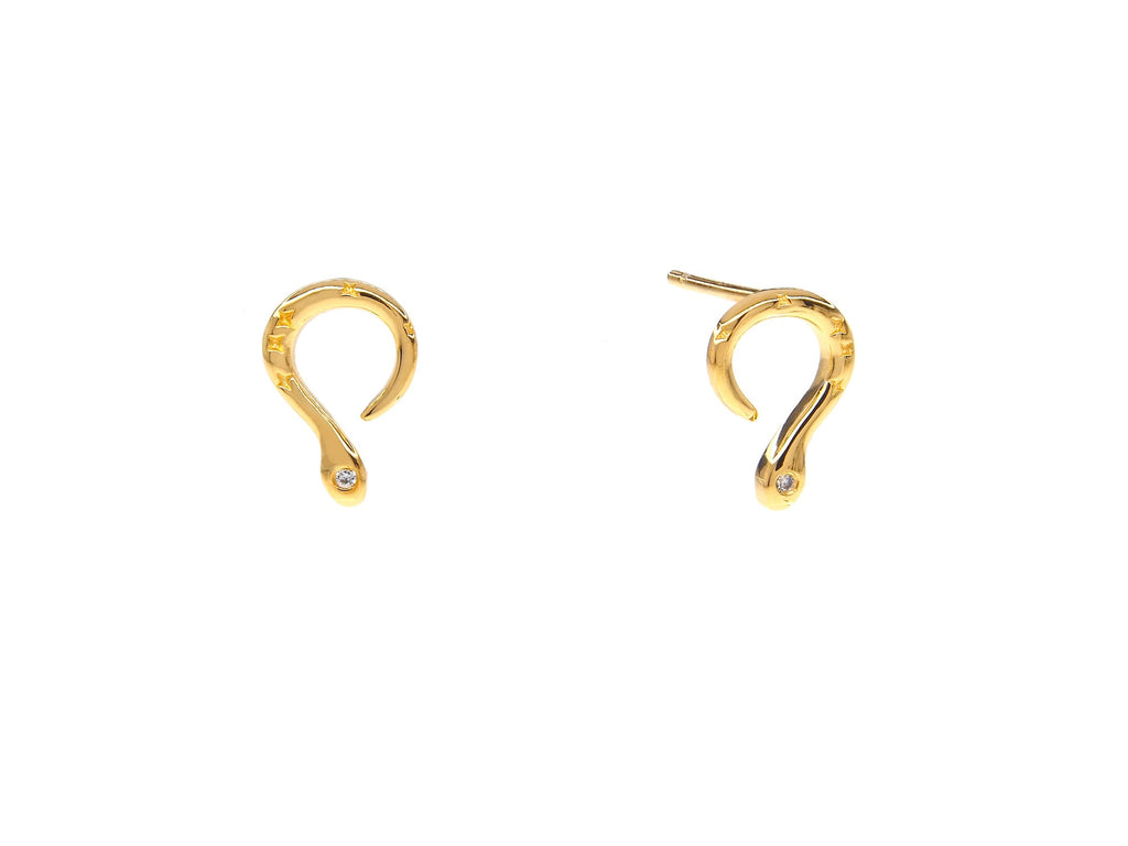 Medusa snake mini earrings, sterling silver, yellow gold plated